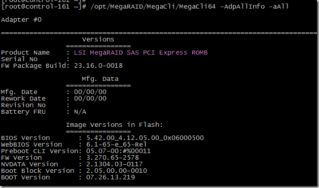 Megacli Adapter Status